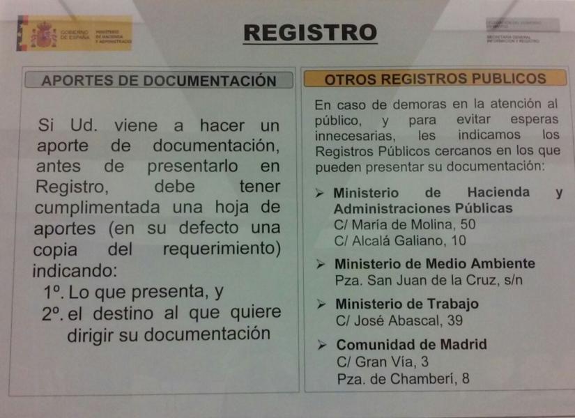 Aportes de documentaci n en el registro de la delegaci n for Oficina de registro madrid