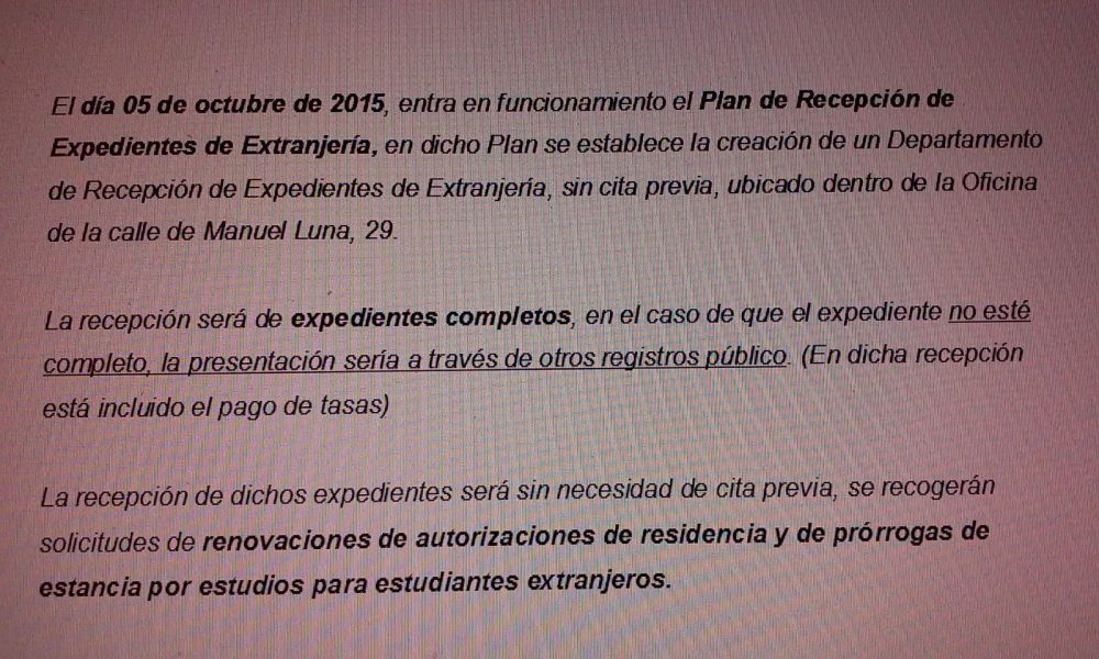 Plan de recepci n de expedientes de extranjer a en madrid for Oficina extranjeria madrid