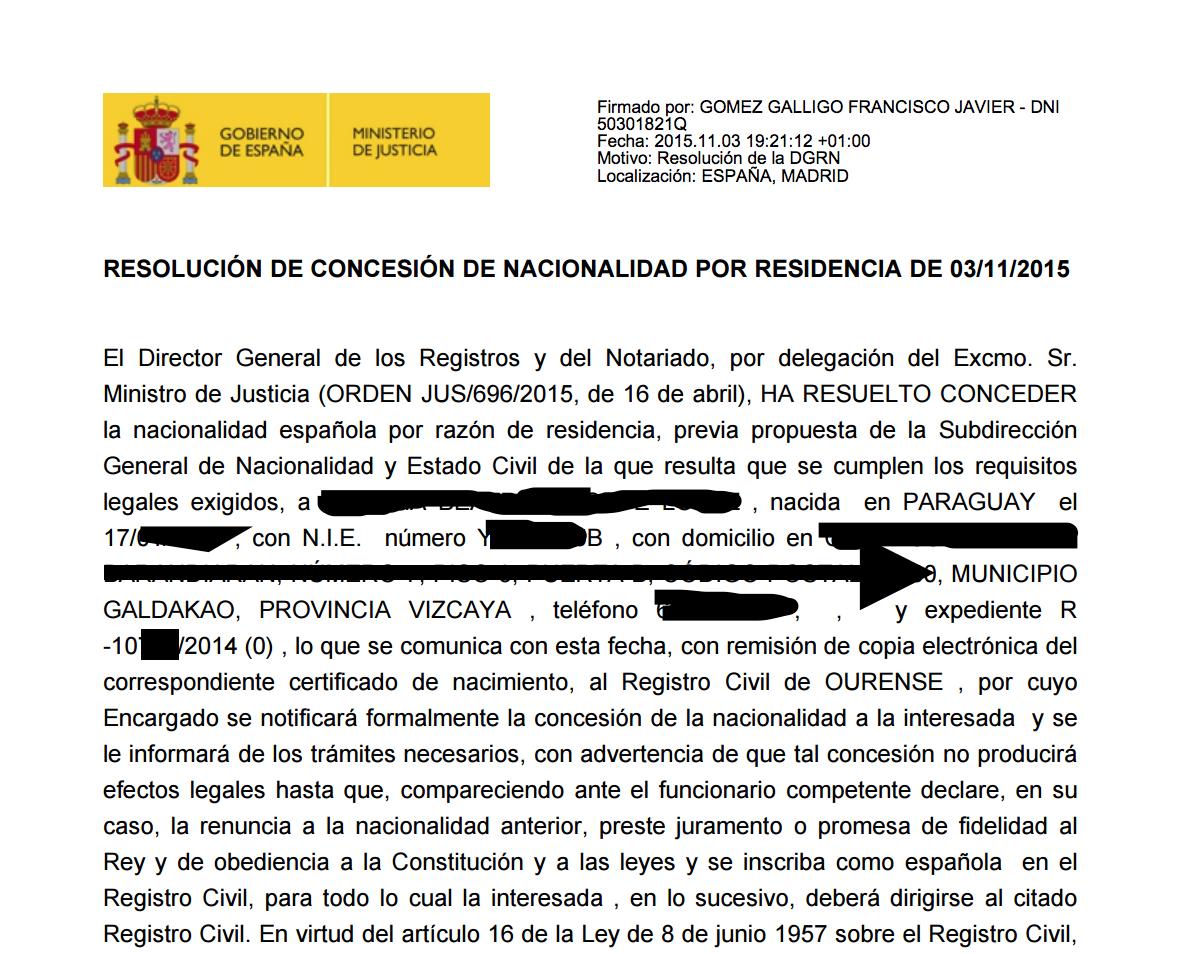 resolución de concesión de la nacionalidad española
