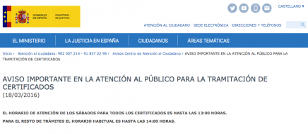 Aviso del ministerio de justicia atenci n al p blico los for Ministerio del interior horario de atencion