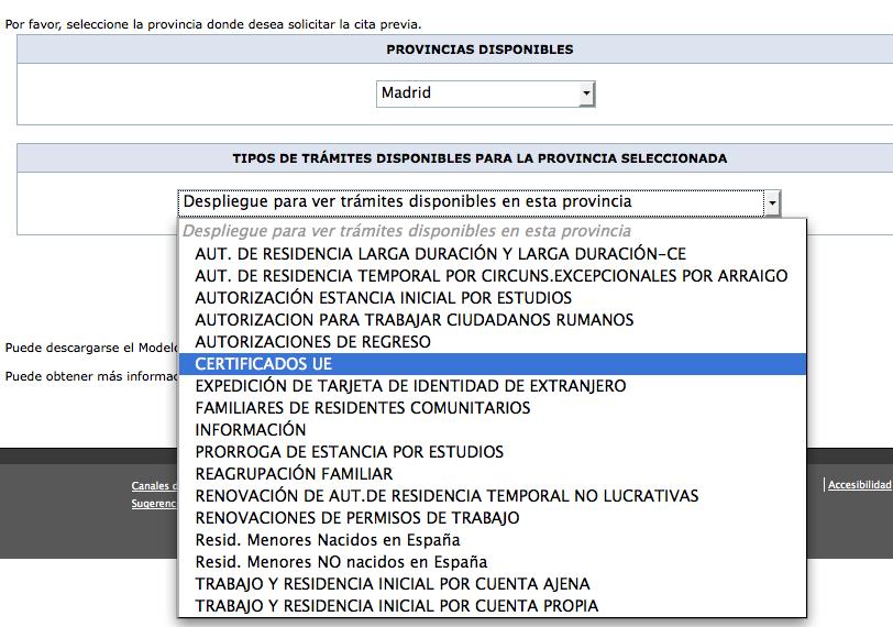 Cita previa para certificados de la uni n y autorizaci n for Cita oficina virtual de empleo