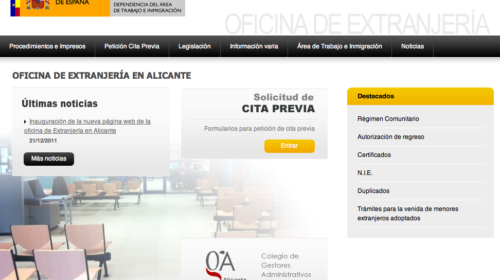 Nueva web de la Oficina de Extranjeros de Alicante