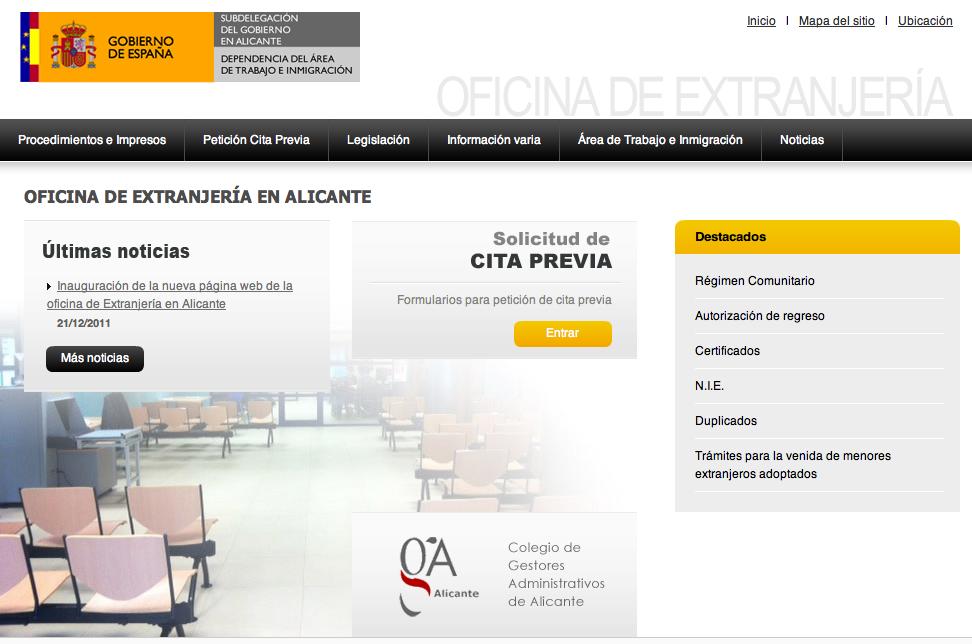 Nueva web de la oficina de extranjeros de alicante for Oficina extranjeria murcia