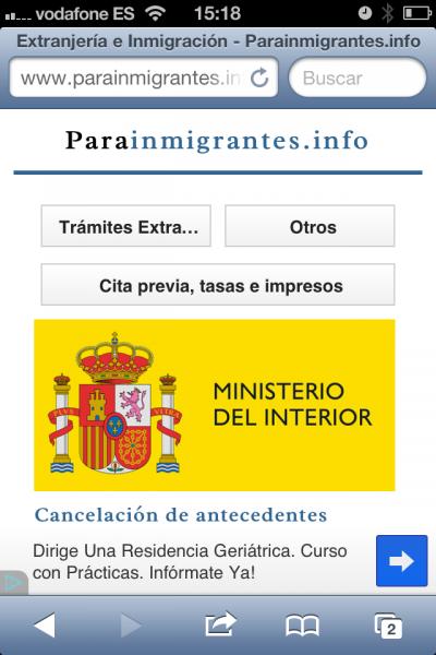 web para móviles de parainmigrantes.info