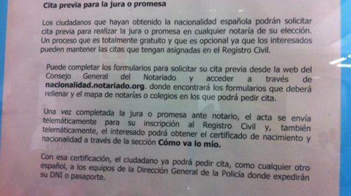 Nota informativa sobre las Juras e Inscripción de nacionalidad española