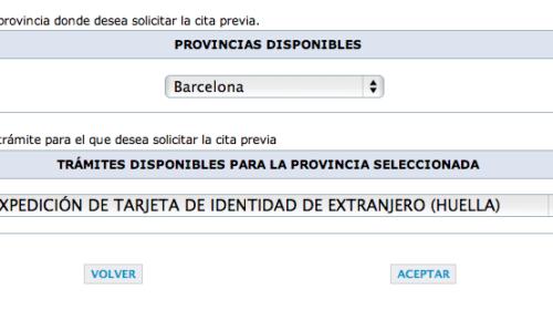 Cita Previa Extranjería por Internet. Barcelona. Días de cita y trámites.