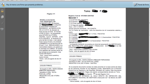 Inscripciones de Nacimiento de Juras o Promesas en Notaría. Estado actual por Provincias