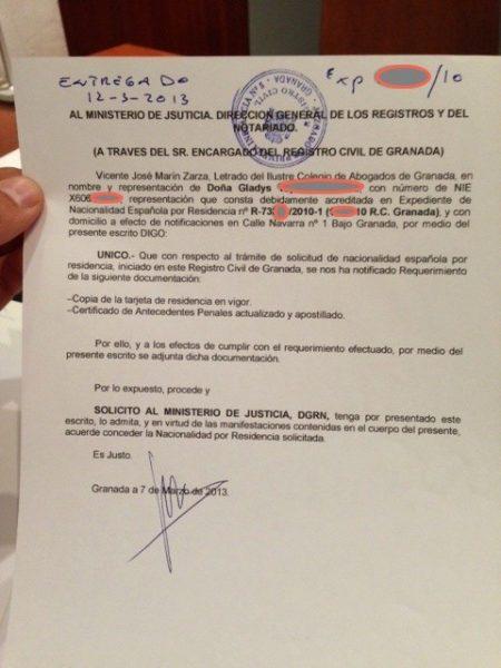 contestación requerimiento de documentación nacionalidad española