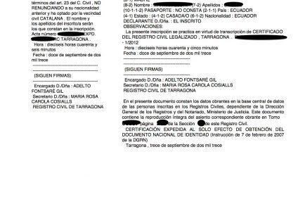 El Registro Civil de Tarragona comienza a realizar las primeras inscripciones de nacimiento de las juras hechas en notaría
