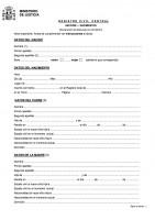 Formulario de declaración de datos para inscripción de nacimiento. Inscripción del Nacimiento después de la Jura de Nacionalidad.