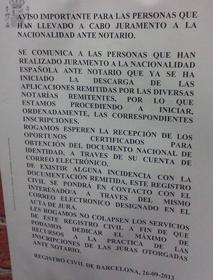 El Registro Civil de Barcelona comenzará a realizar las primeras inscripciones de nacimiento de las juras en notaría en breve