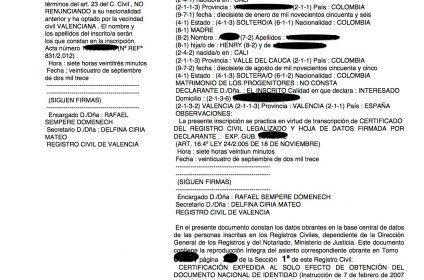 Inscripciones de nacimiento de las juras ante notario en el Registro Civil de Valencia