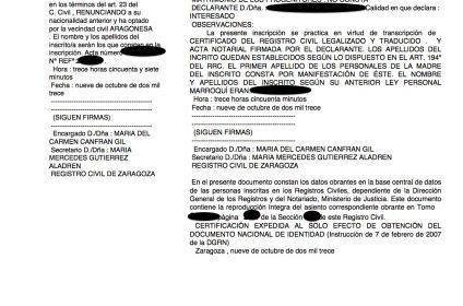 Zaragoza también comienza a realizar las primeras inscripciones de nacimiento de las juras hechas en notaría