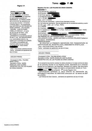 certificado de nacimiento nacionalidad canarias