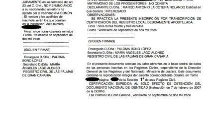 Las Palmas de Gran Canaria: Inscripciones de Nacimiento después de la Jura en Notaría