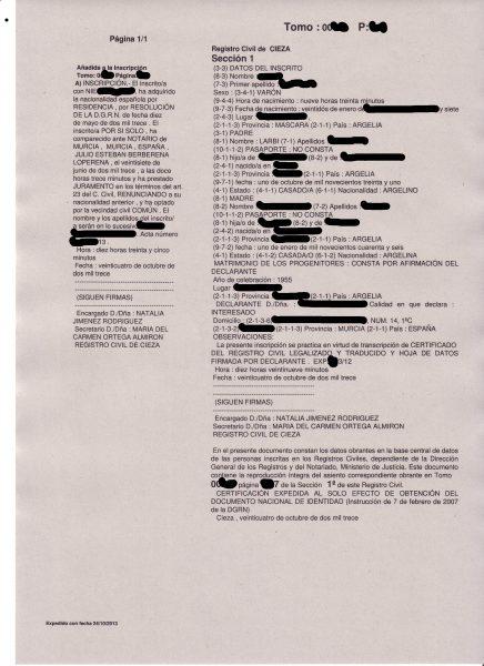 Inscripciones de Nacimiento de Juras o Promesas en Notaría. Estado ...