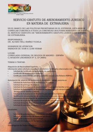 Asesoramiento jurídico en el Consulado de Bolovia