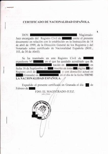El Certificado de Nacionalidad Española