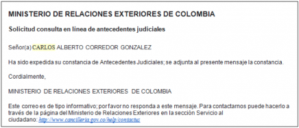 Constancia judicial de Colombia