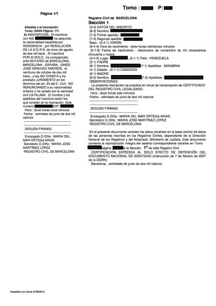 Modelo de solicitud de certificado de nacimiento - Parainmigrantes.info