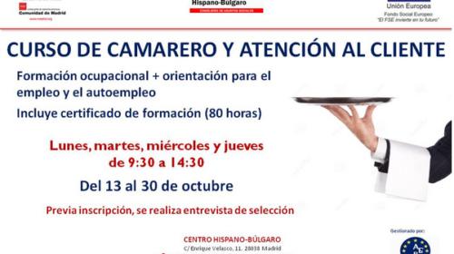 Curso de Camarero y Atención al Cliente en el Centro Hispano Búlgaro