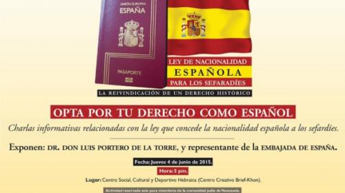 Charla informativa sobre la ley de nacionalidad para sefardíes en Venezuela