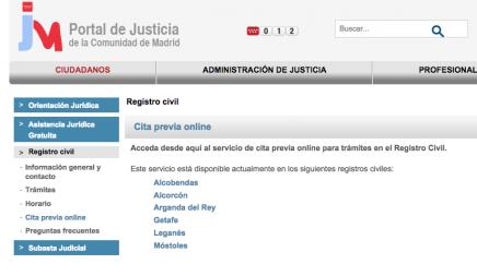 Cita Previa Registro Civil de Madrid Alcobendas, Alcorcón, Arganda del Rey, Getafe, Leganés Móstoles
