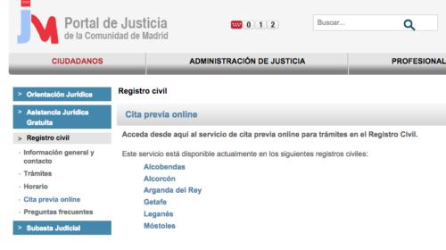 Cita Previa Registro Civil de Madrid