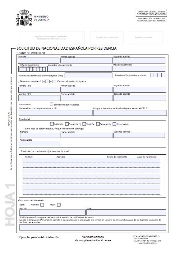 Impreso de solicitud de nacionalidad española