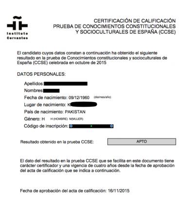 certificado de calificación de prueba de conocimientos constitucionales y socioculturales de españa