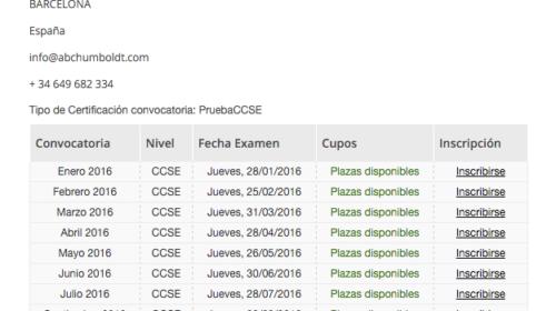Nuevas plazas disponibles para exámenes (Enero 2016) de nacionalidad en Barcelona