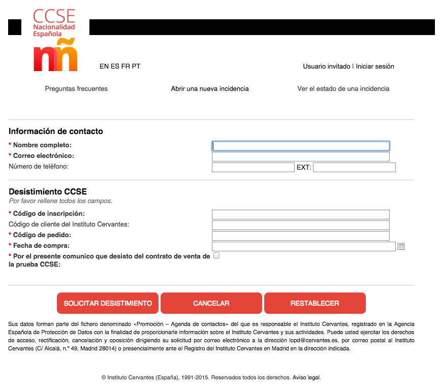 cancelación inscripción examen CCSe