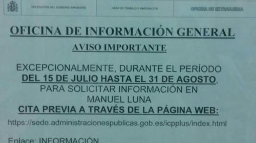 Cita previa información extranjería Madrid. Aviso importante