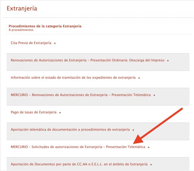 formas de presentación del permiso de residencia y/o trabajo en España. Vía mercurio