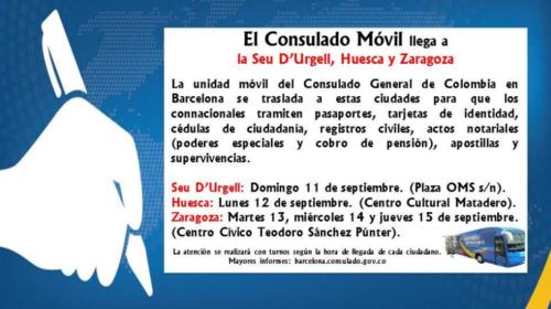 El Consulado Móvil de Colombia llega a La Seu D´Urgell, Huesca y Zaragoza