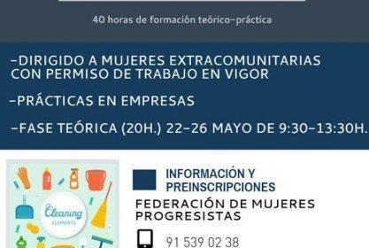 «Curso de limpieza integral de edificios» para mujeres extracomunitarias con permiso de residencia