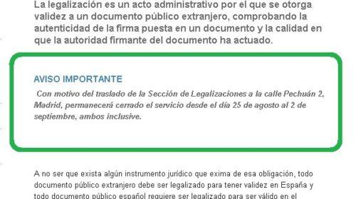Cierre temporal de la sección de legalizaciones del MAEC