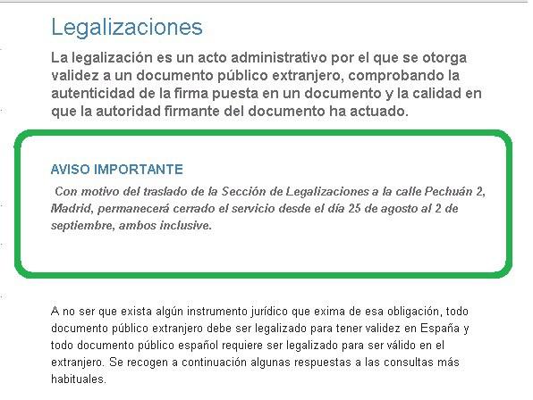 sección de legalizaciones del MAEC