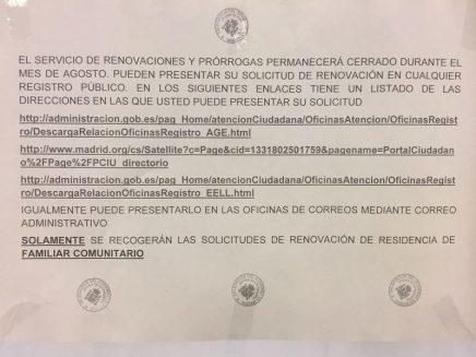 Aviso de la Oficina de Extranjería de Madrid