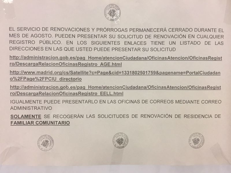 Aviso de la oficina de extranjer a de madrid for Oficina de extranjeria aluche