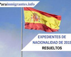 Expedientes de Nacionalidad de 2015 Resueltos. Fechas
