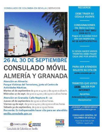 Consulado Móvil de Colombia llega a Granada y Almería