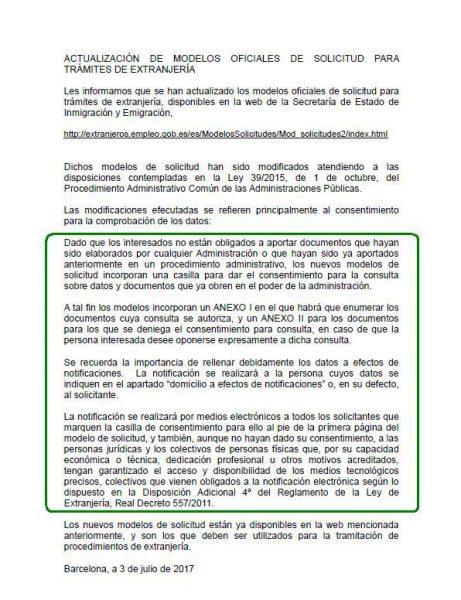 Nota informativa de la Oficina de Extranjería de Barcelona: Nuevos formularios de extranjería