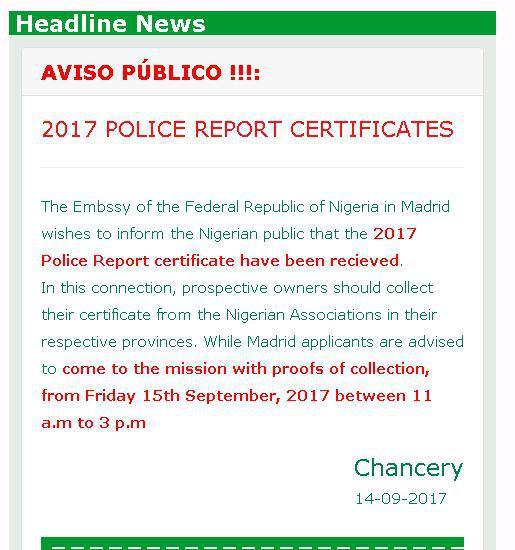 Certificado de antecedentes penales nigeriano