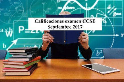 Calificaciones examen CCSE Septiembre 2017