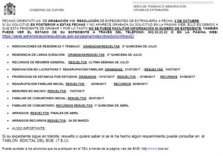 expedientes de Extranjería Madrid. Octubre