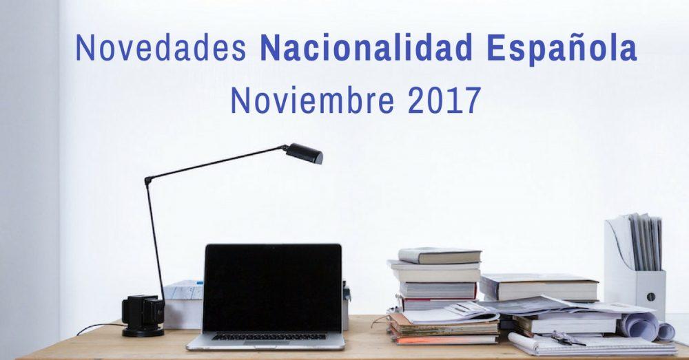 Novedades nacionalidad española noviembre 2017