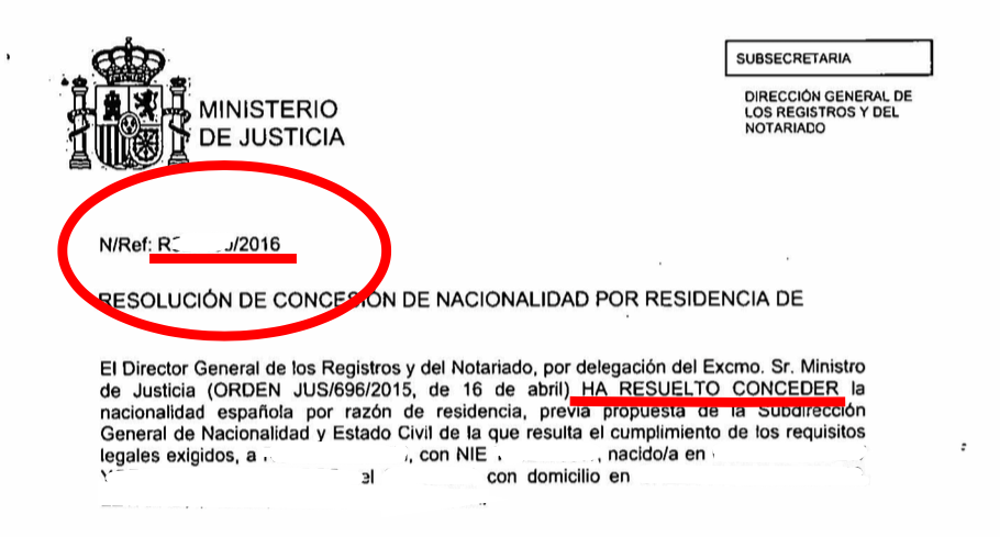 resoluciones de expedientes de nacionalidad de 2016