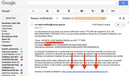 email ministerio de justicia notificación concesión nacionalidad española