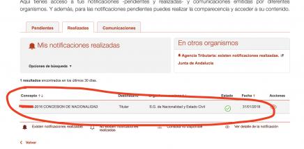 recibir concesión de la nacionalidad española por sede electrónica